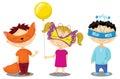 Children in masquerade costumes.