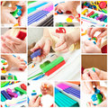 Children mold plasticine collage with сhildren Royalty Free Stock Photo