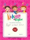 children musical diploma music award template with kids cartoon