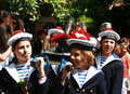 Children in navy uniforms Saint Tropez Parade Stock Photos