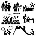 Children needs parent love supports cliparts a set of human pictogram representing childrens and necessity this includes Royalty Free Stock Image