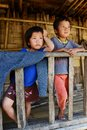 Children of the nishi tribes at arunachal pradesh in india Stock Photos