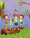 Children with one colorful parrot in the forest illustration of four Royalty Free Stock Photo