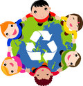 Children over planet with recycle sign Stock Photography