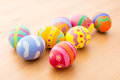 Children painted easter egg close up Stock Images