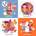 Children with painted faces concept icons set party greasepaint vector illustration flat greasepaint for kids Stock Image