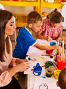Children painting and drawing. Art lesson in primary school. Royalty Free Stock Photo