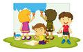 Children painting illustration of four Royalty Free Stock Photos