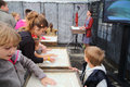 Children participate master class of sand animation moscow august from creative center bioz at festival bright people in gorky Royalty Free Stock Photos