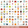 100 children party icons set, flat style