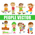 Children. People vector with various characters