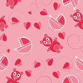 Children pink abstract seamless pattern on background Royalty Free Stock Photo