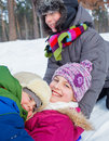 Children plaing in snow Stock Image