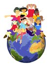 Children planet happy of the world on the ball earth Royalty Free Stock Photo