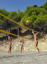 Children play beach volleyball Royalty Free Stock Photos