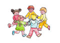 Children play in a circle