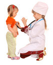 Children play doctor and nurse. Royalty Free Stock Image