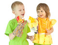 Children play a puppet theatre Stock Photo
