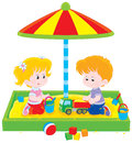 Children play in a sandbox little girl and boy playing sandpit on playground Stock Images