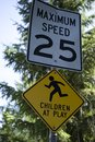 Children at play sign with speed limit. Royalty Free Stock Photo