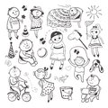 Children play with toys black white sketch playing vector illustration set Stock Photos