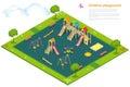 Children playground 平的 d等量传染媒  库存图片