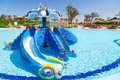 Children playground at the tropical resort in hurghada egypt Stock Photos