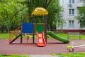 Children playground in the yard summer Stock Photo