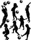 Children playing ball activity throwing Stock Photo