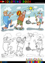 Children playing ball cartoon for coloring Stock Photo