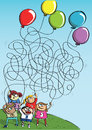 Children Playing with Balloons Maze Game Royalty Free Stock Photo