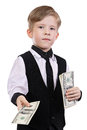Children playing banker isolated on a white background Stock Image