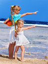 Children  playing on  beach. Stock Images