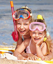 Children playing on  beach. Royalty Free Stock Image