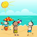 Children playing on beach three kids with ball and sand Royalty Free Stock Image
