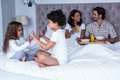 Children playing on the bed Royalty Free Stock Photo