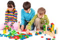 Children playing with blocks Royalty Free Stock Photography