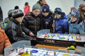 Children playing a board game of hockey celebrations in honor the opening the new ice stadium st petersburg russia Stock Photography
