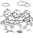 Children playing coloring page Royalty Free Stock Photo