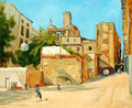 Children playing football in a court yard illustration painting Stock Image