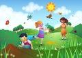 Children Playing in a Garden