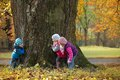 Children playing hide and seek Royalty Free Stock Photo