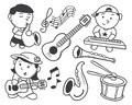 Children playing music isolated white background Royalty Free Stock Photos