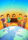 Children playing musical instruments five on top of a globe with sunset in the background Royalty Free Stock Images