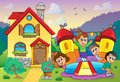 Children playing near house theme eps vector illustration Stock Image