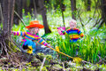 Children playing outdoors catching frog Royalty Free Stock Photo