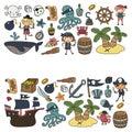 Children playing pirates Boys and girls Kindergarten, school, preschool, halloween party Treasure island, pirate ship Royalty Free Stock Photo