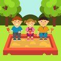 Children playing in the sandbox. Children`s playground. Baby-themed flat stock illustration with isolated elements.