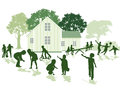 Children playing silhouette green silhouettes of outside a country house Royalty Free Stock Images