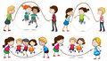 Children playing skipping rope Royalty Free Stock Photo
